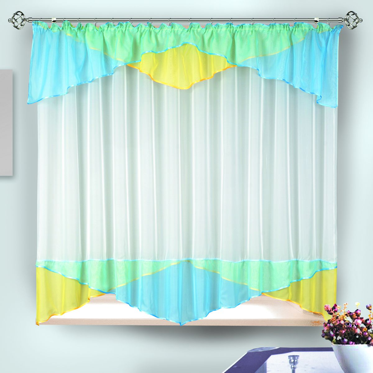 Комплект штор для кухни Zlata Korunka, на ленте, цвет: голубой, желтый, белый, высота 170 см. 3333333333Комплект штор для кухни Zlata Korunka, выполненный из полиэстера, великолепно украсит любое окно. Комплект состоит из тюля и ламбрекена. Оригинальный крой и приятная цветовая гамма привлекут к себе внимание и органично впишутся в интерьер помещения. Этот комплект будет долгое время радовать вас и вашу семью!Комплект крепится на карниз при помощи ленты, которая поможет красиво и равномерно задрапировать верх.В комплект входит: Ламбрекен: 1 шт. Размер (Ш х В): 290 х 35 см. Тюль: 1 шт. Размер (Ш х В): 280 х 170 см.