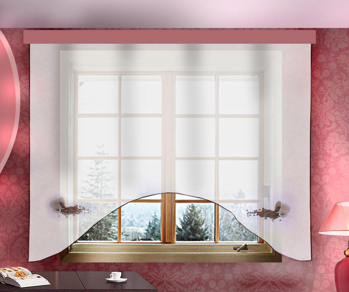 Штора для кухни Zlata Korunka, на ленте, цвет: белый, высота 160 см. 333332333332Штора Zlata Korunka, изготовленная из полиэстера, станет великолепным украшением любого окна. Полотно из белой вуали с оригинальным принтом привлечет к себе внимание и органично впишется в интерьер кухни. Штора крепится на карниз при помощи ленты, которая поможет красиво и равномерно задрапировать верх.