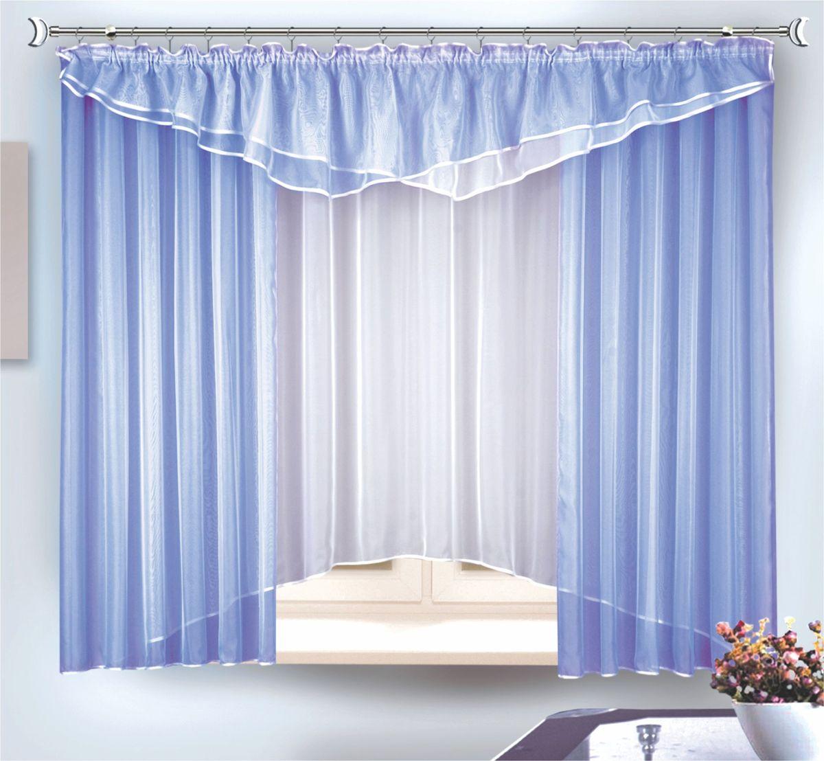 Комплект штор для кухни Zlata Korunka, на ленте, цвет: голубой, высота 180 см. 3333833338Комплект штор на шторной лентеРазмер: тюль ширина 290 x высота 180, шторы - ширина 290 x высота 170 + ламбрекен - ширина 290 x высота 50