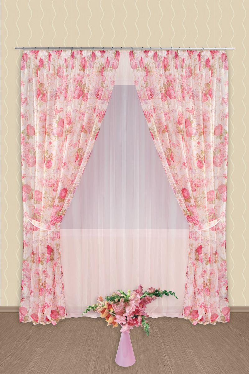 Комплект штор Zlata Korunka, на ленте, цвет: розовый, высота 250 см. 5454Роскошный комплект штор Zlata Korunka, выполненный из полиэстера, великолепно украсит любое окно. Комплект состоит из тюля, двух штор и двух подхватов. Нежный цветочный рисунок и приятная цветовая гамма привлекут к себе внимание и органично впишутся в интерьер помещения. Этот комплект будет долгое время радовать вас и вашу семью!Комплект крепится на карниз при помощи ленты, которая поможет красиво и равномерно задрапировать верх.В комплект входит: Тюль: 1 шт. Размер (Ш х В): 400 см х 250 см. Штора: 2 шт. Размер (Ш х В): 180 см х 250 см.Подхват: 2 шт.