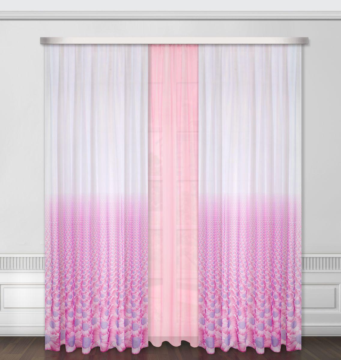 Комплект штор Zlata Korunka, на ленте, цвет: сиреневый, высота 260 см. 5566355663Роскошный комплект штор Zlata Korunka, выполненный из полиэстера, великолепно украсит любое окно. Комплект состоит из тюля и двух штор. Цветочный рисунок и приятная цветовая гамма привлекут к себе внимание и органично впишутся в интерьер помещения. Этот комплект будет долгое время радовать вас и вашу семью!Комплект крепится на карниз при помощи ленты, которая поможет красиво и равномерно задрапировать верх.В комплект входит: Тюль: 1 шт. Размер (Ш х В): 350 см х 260 см. Штора: 2 шт. Размер (Ш х В): 160 см х 260 см.
