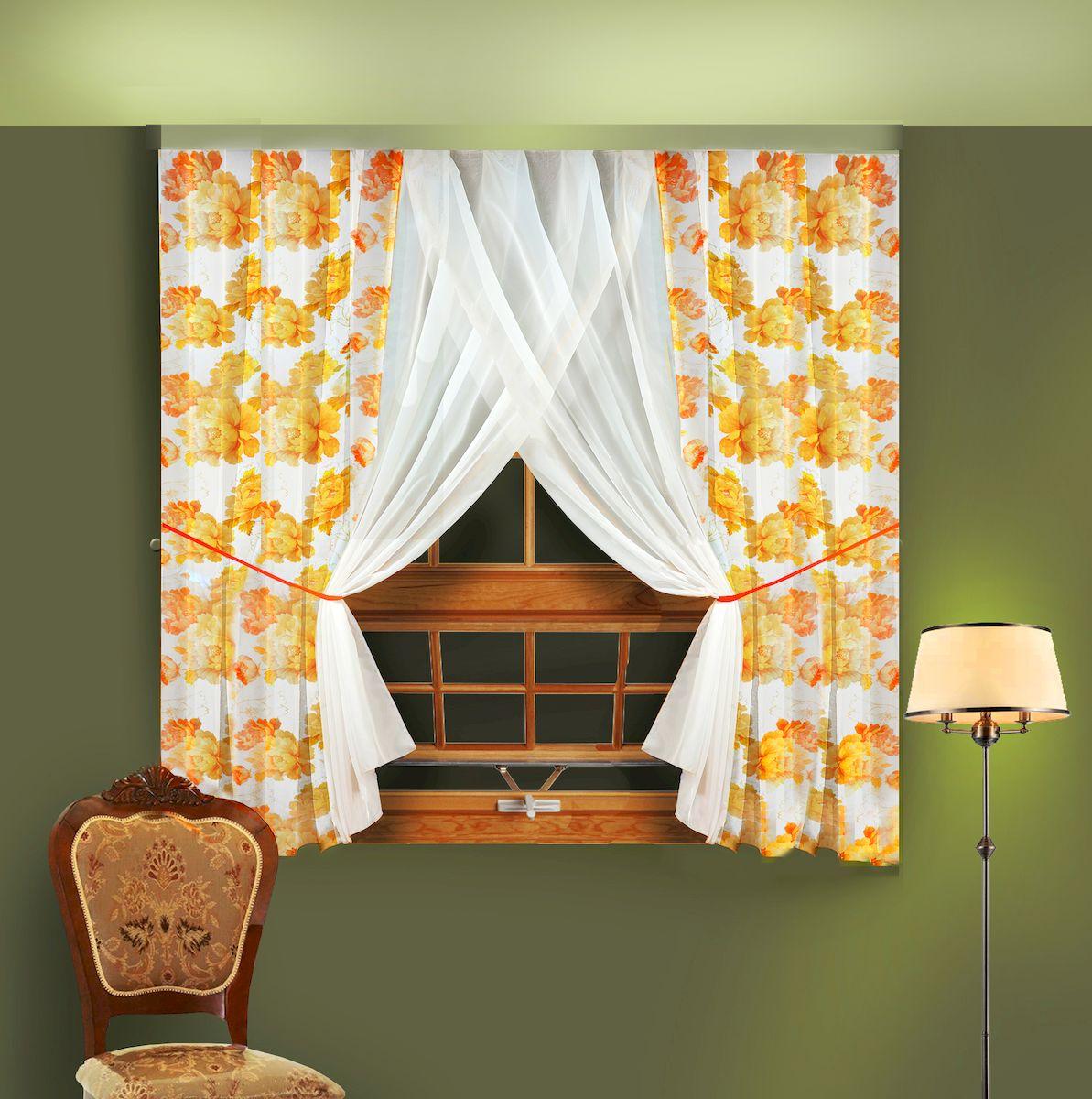 Комплект штор для кухни Zlata Korunka, на ленте, цвет: желтый, высота 180 см. 5566455664Комплект штор для кухни Zlata Korunka, выполненный из полиэстера, великолепно украсит любое окно. Комплект состоит из 2 штор и 2 подхватов. Крупный цветочный рисунок и приятная цветовая гамма привлекут к себе внимание и органично впишутся в интерьер помещения. Этот комплект будет долгое время радовать вас и вашу семью!Комплект крепится на карниз при помощи ленты, которая поможет красиво и равномерно задрапировать верх.В комплект входит: Штора: 2 шт. Размер (Ш х В): 180 х 180 см.Подхват: 2 шт.