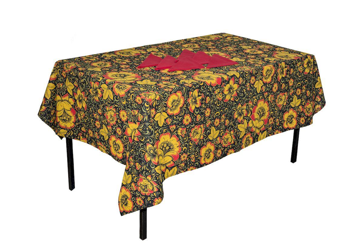 Комплект столовый Zlata Korunka Хохлома, 7 предметов. 5566955669Комплект столового белья Zlata Korunka Хохлома состоит из прямоугольной скатерти и шести салфеток. Комплект выполнен из высококачественного хлопка и украшен ярким рисунком. Он, несомненно, придаст интерьеру уют и внесет что-то новое. Использование такого комплекта сделает застолье более торжественным, поднимет настроение гостей и приятно удивит их вашим изысканным вкусом. Размер скатерти: 140 х 180 см.Размер салфетки: 40 х 40 см.