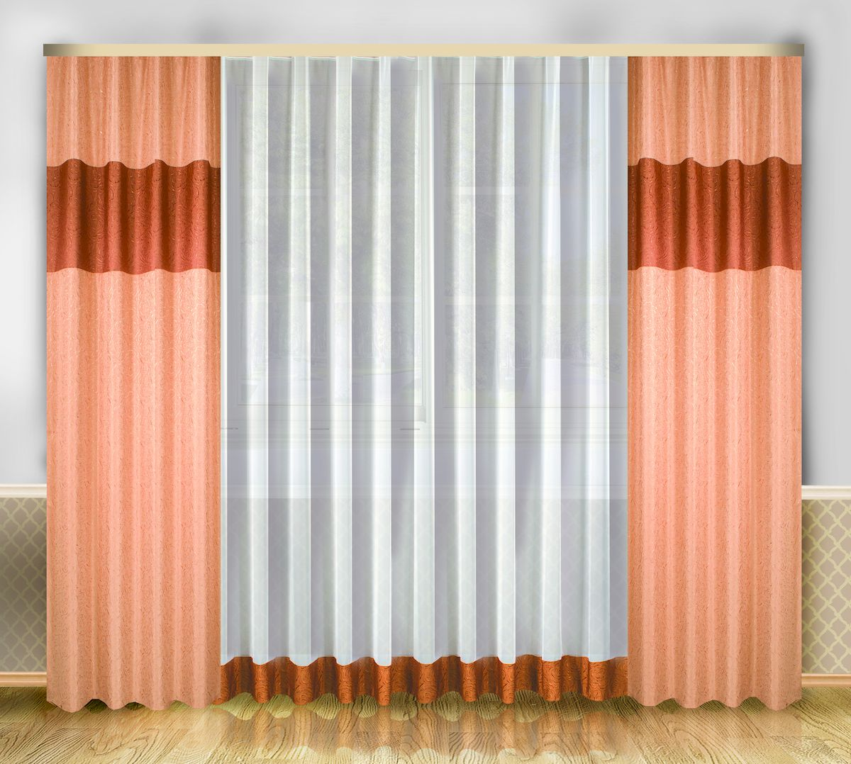 Комплект штор Zlata Korunka, на ленте, цвет: персиковый, высота 250 см. 6661966619Роскошный комплект штор Zlata Korunka, выполненный из полиэстера, великолепно украсит любое окно. Комплект состоит из тюля и двух штор. Изящный узор и приятная цветовая гамма привлекут к себе внимание и органично впишутся в интерьер помещения. Этот комплект будет долгое время радовать вас и вашу семью!Комплект крепится на карниз при помощи ленты, которая поможет красиво и равномерно задрапировать верх.В комплект входит: Тюль: 1 шт. Размер (Ш х В): 290 см х 250 см. Штора: 2 шт. Размер (Ш х В): 138 см х 250 см.