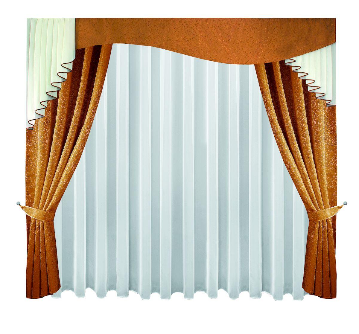 Комплект штор Zlata Korunka, на ленте, цвет: шоколадный, высота 250 см. 6662766627Комплект штор Zlata Korunka, выполненный из полиэстера, великолепно украсит любое окно. Комплект состоит из тюля, ламбрекена, двух штор и двух подхватов. Изящный узор и приятная цветовая гамма привлекут к себе внимание и органично впишутся в интерьер помещения. Этот комплект будет долгое время радовать вас и вашу семью!Комплект крепится на карниз при помощи ленты, которая поможет красиво и равномерно задрапировать верх.В комплект входит: Тюль: 1 шт. Размер (Ш х В): 400 см х 250 см. Ламбрекен: 1 шт. Размер (Ш х В): 300 см х 100 см. Штора: 2 шт. Размер (Ш х В): 138 см х 250 см.Подхват: 2 шт.