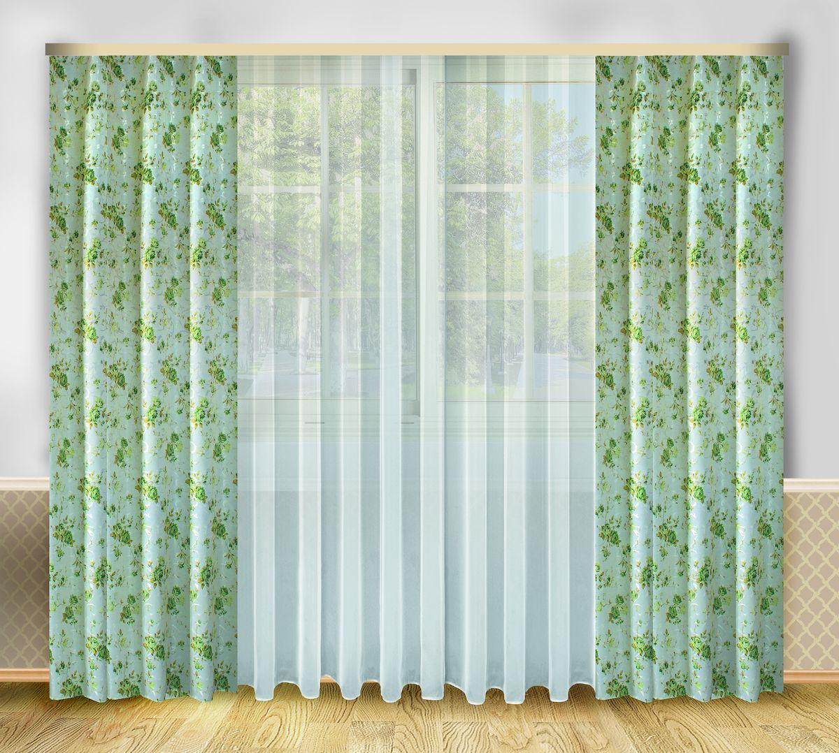 Комплект штор Zlata Korunka, на ленте, цвет: серо-зеленый, высота 250 см. 66658