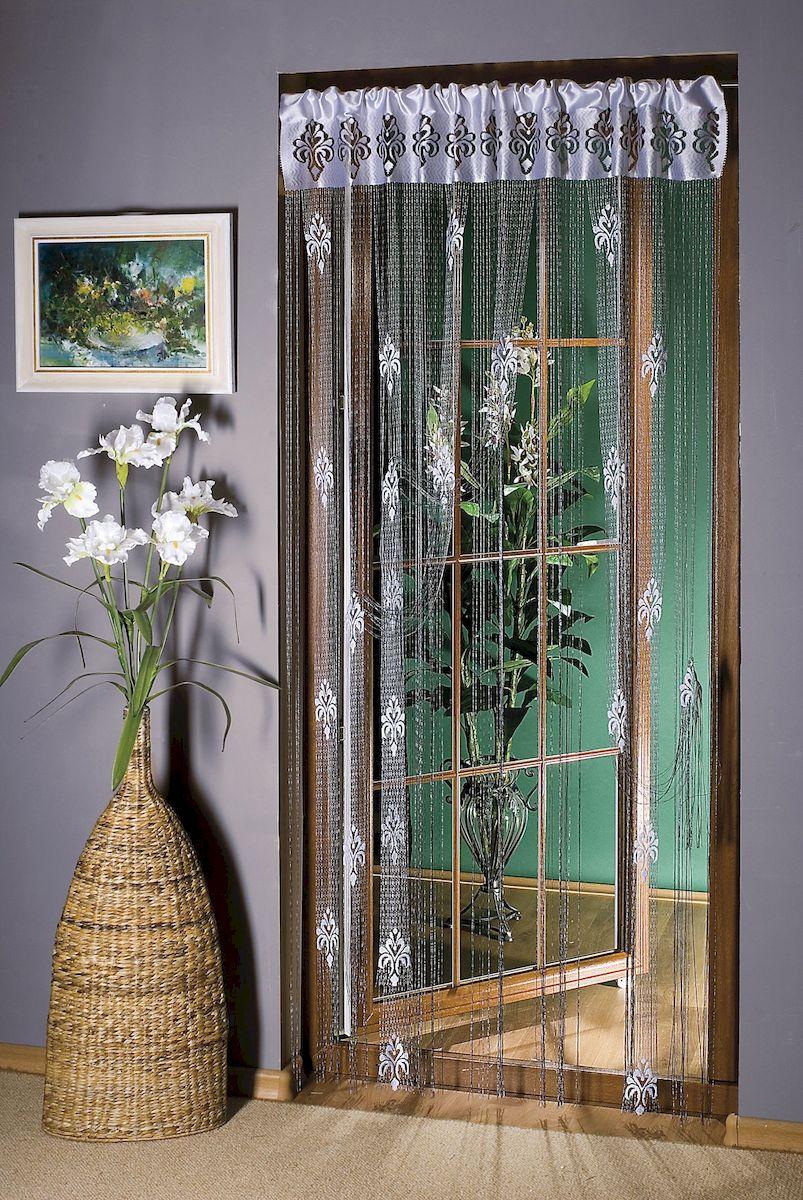 Гардина-лапша Wisan, на кулиске, цвет: белый, серебристый, высота 250 см. 9910 wisan 250 030w