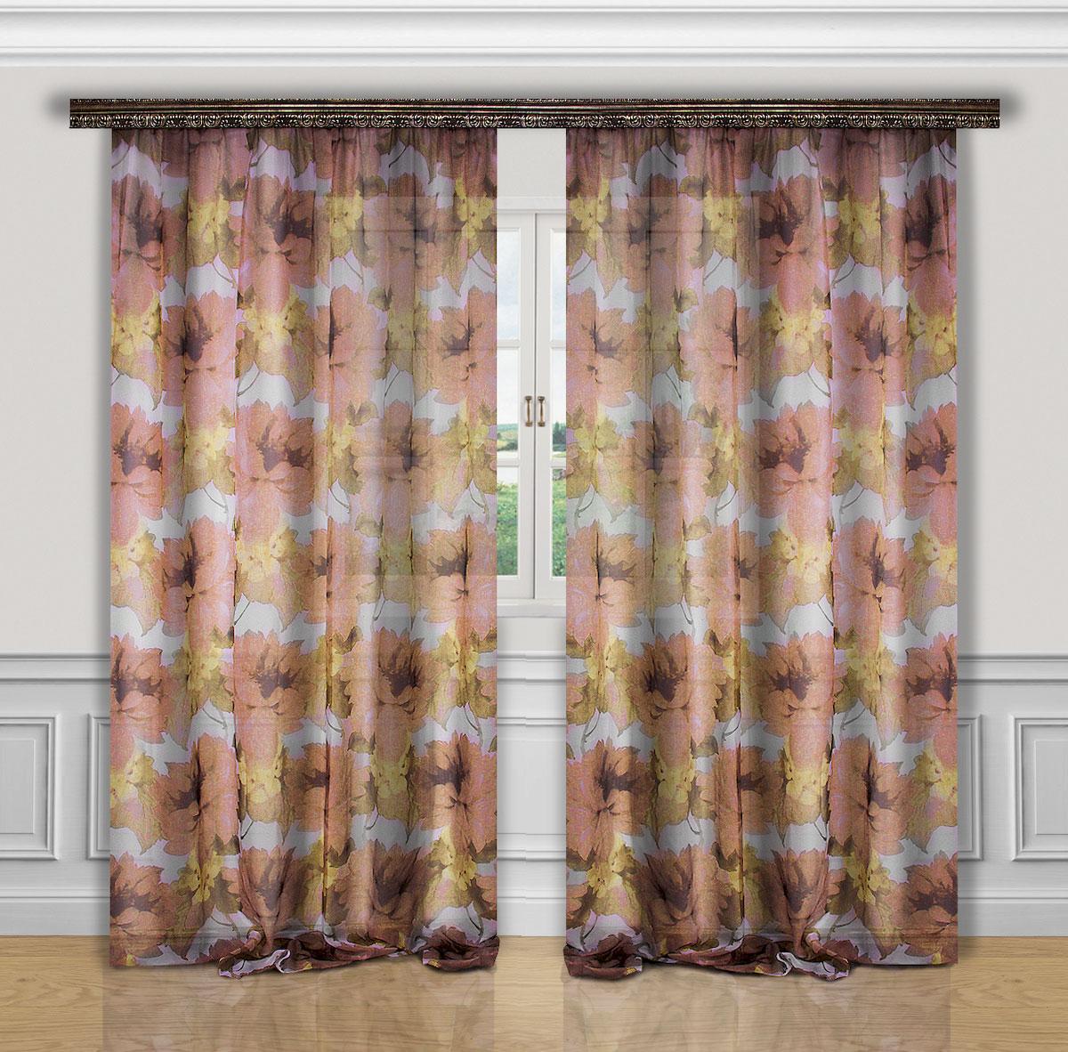 Комплект штор Zlata Korunka, на ленте, цвет: коричневый, бежевый, высота 270 см. 5559855598Роскошный комплект штор Zlata Korunka, выполненный из полиэстера, великолепно украсит любое окно. Комплект состоит из двух штор. Вуаль с печатным цветочным рисунком привлечет к себе внимание и органично впишется в интерьер помещения. Этот комплект будет долгое время радовать вас и вашу семью!Комплект крепится на карниз при помощи ленты, которая поможет красиво и равномерно задрапировать верх.В комплект входит: Штора: 2 шт. Размер (Ш х В): 200 см х 270 см.
