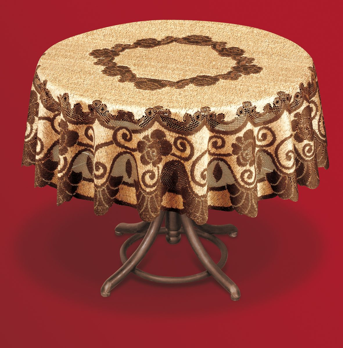 Скатерть Haft, круглая, цвет: коричневый, бежевый, диаметр 200 см. 201553201553/200 кофейно-коричневыйВеликолепная скатерть Haft, выполненная из полиэстера, органично впишется в интерьер любого помещения, а оригинальный дизайн удовлетворит даже самый изысканный вкус.Скатерть Haft создаст праздничное настроение и станет прекрасным дополнением интерьера гостиной, кухни или столовой.