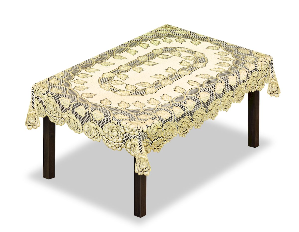 Скатерть Haft, прямоугольная, цвет: кремовый, золотистый, 140 x 220 см. 228649228649/140Великолепная скатерть Haft, выполненная из полиэстера, органично впишется в интерьер любого помещения, а оригинальный дизайн удовлетворит даже самый изысканный вкус.Скатерть Haft создаст праздничное настроение и станет прекрасным дополнением интерьера гостиной, кухни или столовой.
