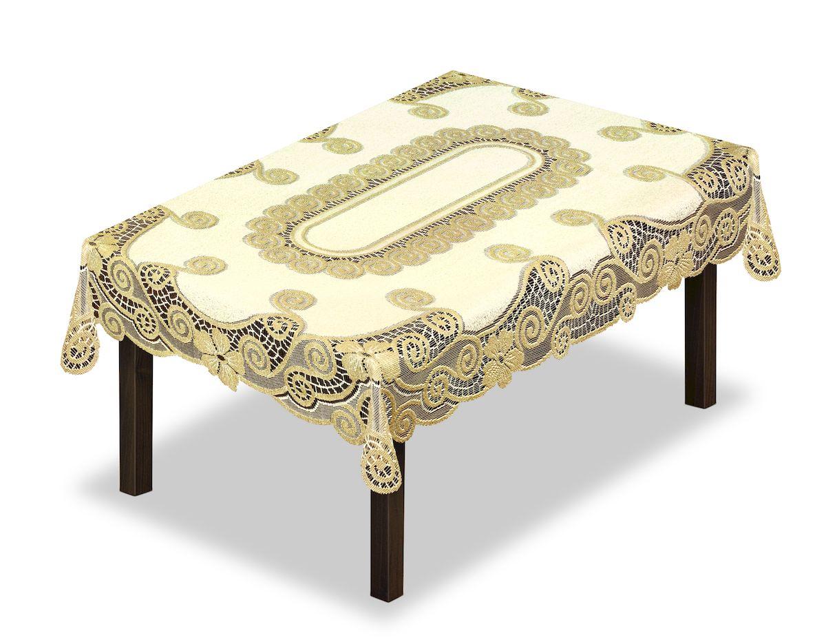 Скатерть Haft, прямоугольная, цвет: кремовый, золотистый, 120 x 160 см. 230339230339/120Великолепная скатерть Haft, выполненная из полиэстера, органично впишется в интерьер любого помещения, а оригинальный дизайн удовлетворит даже самый изысканный вкус.Скатерть Haft создаст праздничное настроение и станет прекрасным дополнением интерьера гостиной, кухни или столовой.