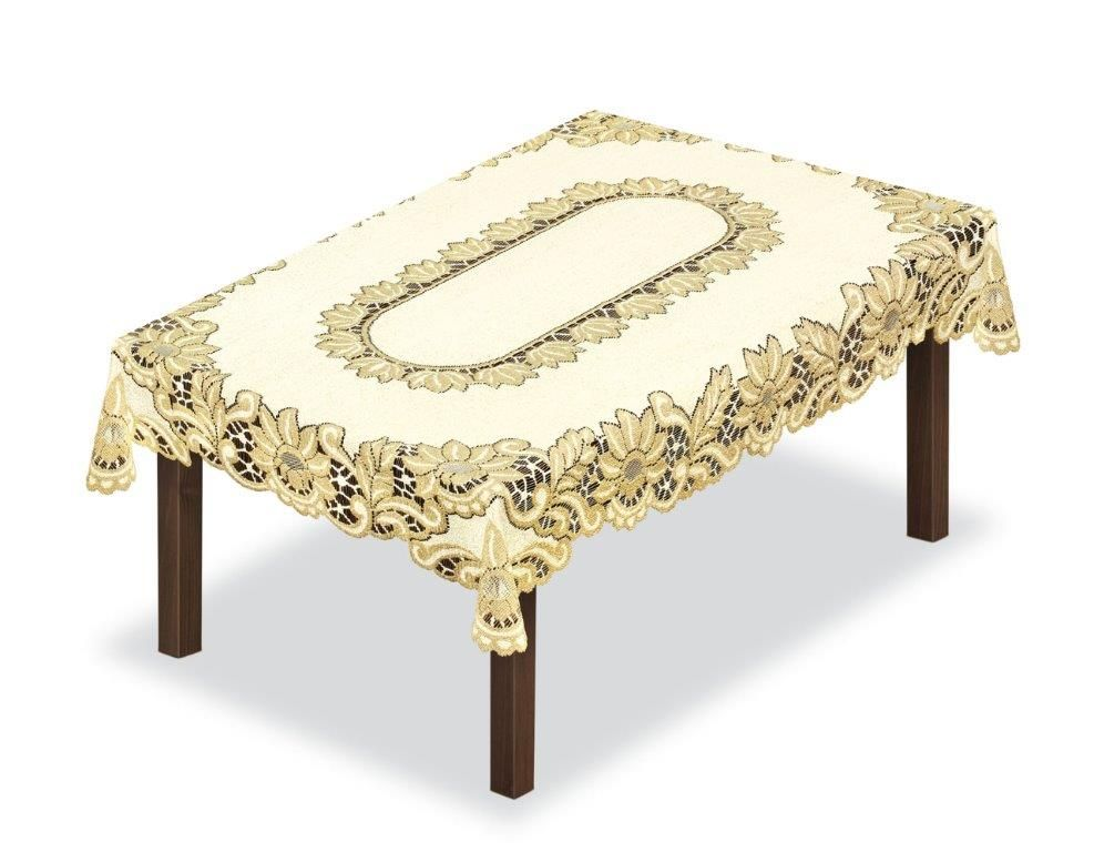 Скатерть Haft, прямоугольная, цвет: кремовый, золотистый, 155 x 115 см. 203960203960/115Великолепная скатерть Haft, выполненная из полиэстера, органично впишется в интерьер любого помещения, а оригинальный дизайн удовлетворит даже самый изысканный вкус.Скатерть Haft создаст праздничное настроение и станет прекрасным дополнением интерьера гостиной, кухни или столовой.