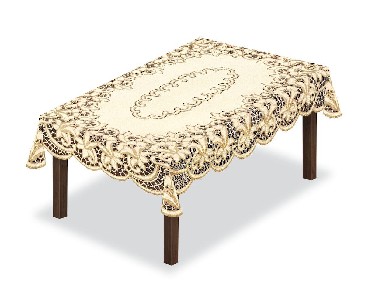 Скатерть Haft, прямоугольная, цвет: кремовый, золотистый, 150 x 100 см. 204840204840/100Великолепная скатерть Haft, выполненная из полиэстера, органично впишется в интерьер любого помещения, а оригинальный дизайн удовлетворит даже самый изысканный вкус.Скатерть Haft создаст праздничное настроение и станет прекрасным дополнением интерьера гостиной, кухни или столовой.