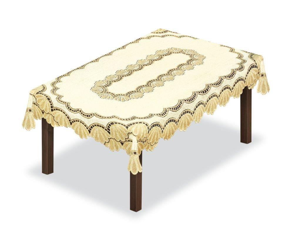 Скатерть Haft, прямоугольная, цвет: кремовый, золотистый, 120 x 160 см. 204850204850/120Великолепная скатерть Haft, выполненная из полиэстера, органично впишется в интерьер любого помещения, а оригинальный дизайн удовлетворит даже самый изысканный вкус.Скатерть Haft создаст праздничное настроение и станет прекрасным дополнением интерьера гостиной, кухни или столовой.