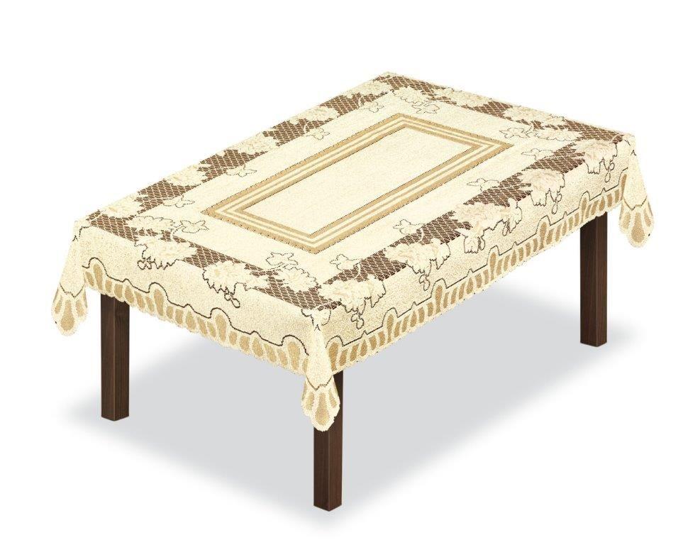 Скатерть Haft, прямоугольная, цвет: кремовый, золотистый, 130 x 180 см. 226560226560/130Великолепная скатерть Haft, выполненная из полиэстера, органично впишется в интерьер любого помещения, а оригинальный дизайн удовлетворит даже самый изысканный вкус.Скатерть Haft создаст праздничное настроение и станет прекрасным дополнением интерьера гостиной, кухни или столовой.