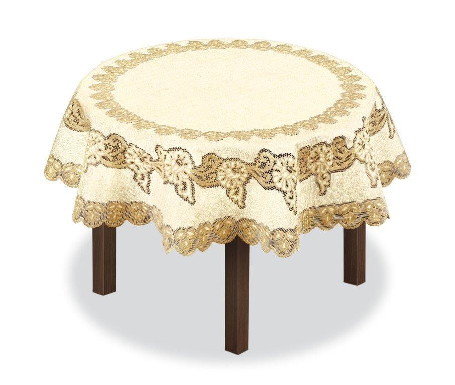 Скатерть Haft, круглая, цвет: кремовый, золотистый, диаметр 150 см. 227933227933/150Великолепная скатерть Haft, выполненная из полиэстера, органично впишется в интерьер любого помещения, а оригинальный дизайн удовлетворит даже самый изысканный вкус.Скатерть Haft создаст праздничное настроение и станет прекрасным дополнением интерьера гостиной, кухни или столовой.