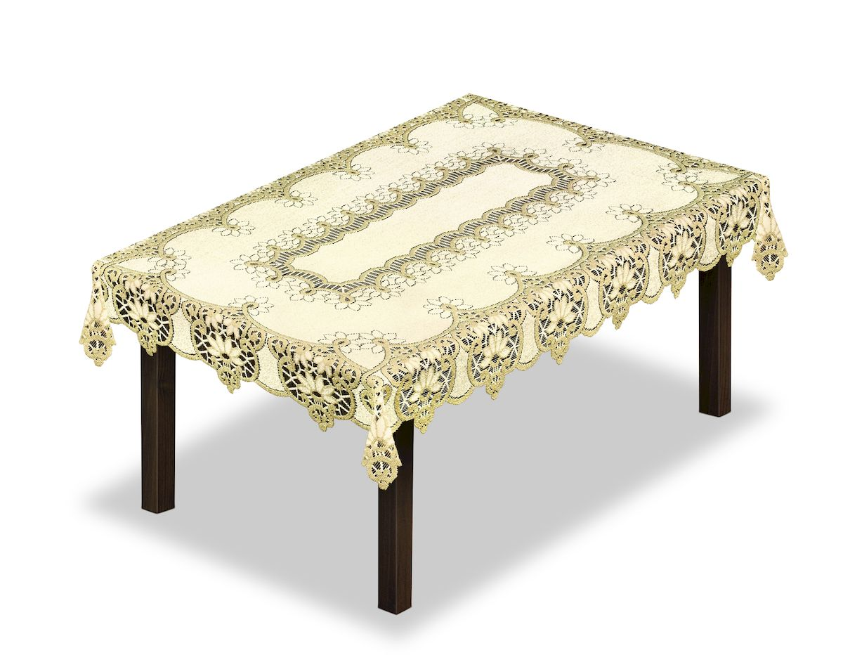 Скатерть Haft, прямоугольная, цвет: кремовый, золотистый, 300 x 150 см. 231500231500/150Великолепная скатерть Haft, выполненная из полиэстера, органично впишется в интерьер любого помещения, а оригинальный дизайн удовлетворит даже самый изысканный вкус.Скатерть Haft создаст праздничное настроение и станет прекрасным дополнением интерьера гостиной, кухни или столовой.
