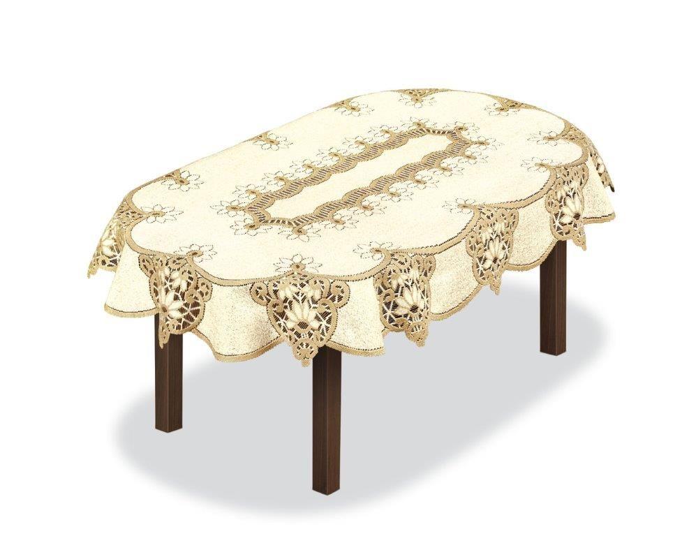 Скатерть Haft, овальная, цвет: кремовый, золотистый, 300 x 150 см. 231501231501/150Великолепная скатерть Haft, выполненная из полиэстера, органично впишется в интерьер любого помещения, а оригинальный дизайн удовлетворит даже самый изысканный вкус.Скатерть Haft создаст праздничное настроение и станет прекрасным дополнением интерьера гостиной, кухни или столовой.