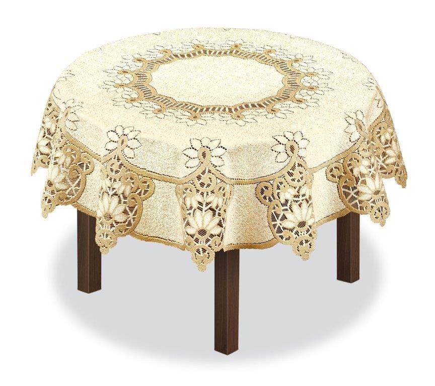Скатерть Haft, круглая, цвет: кремовый, золотистый, диаметр 120 см. 231503231503/120Великолепная скатерть Haft, выполненная из полиэстера, органично впишется в интерьер любого помещения, а оригинальный дизайн удовлетворит даже самый изысканный вкус.Скатерть Haft создаст праздничное настроение и станет прекрасным дополнением интерьера гостиной, кухни или столовой.