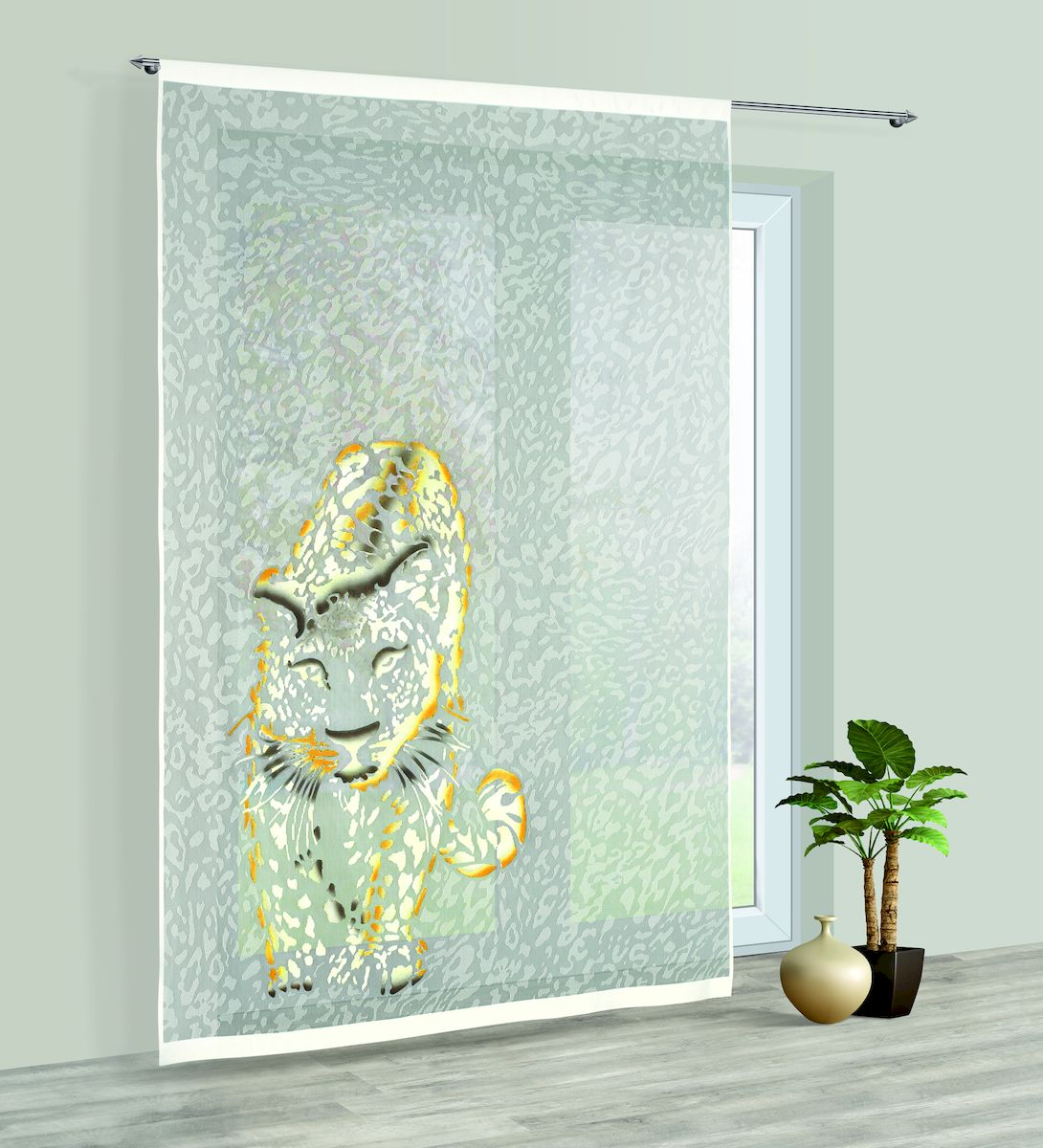 Гардина Haft, на кулиске, цвет: кремовый, высота 250 см. 228780228780/250Гардина Haft великолепно украсит любое окно. Изделие выполнено из полиэстера и украшено изображением леопарда.Изделие имеет оригинальный дизайн и органично впишется в интерьер помещения.Гардина крепится на карниз при помощи кулиски.