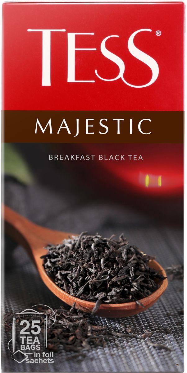 Tess Magestic черный чай в пакетиках, 25 шт1163-10Виртуозный купаж изысканных сортов черного чая из Цейлона, Индии и Кении. Благородный цейлонский чай, выращенный в мягком климате предгорных плантаций, наполняет гамму глубокими пряными оттенками, а уникальный северо-индийский чай Дарджилинг вносит в букет характерные мускатные штрихи и чудесный аромат с цветочными нотами.