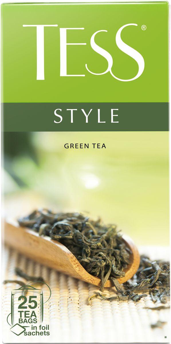 Tess Style зеленый чай в пакетиках, 25 шт1179-10Природный букет благородного зеленого чая из провинции Фудзянь раскрывается во всем великолепии: насыщенный, но легкий вкус, воздушный цветочный аромат, настой цвета светлого нефрита и долгое, с нотами сладости, послевкусие.Всё о чае: сорта, факты, советы по выбору и употреблению. Статья OZON Гид
