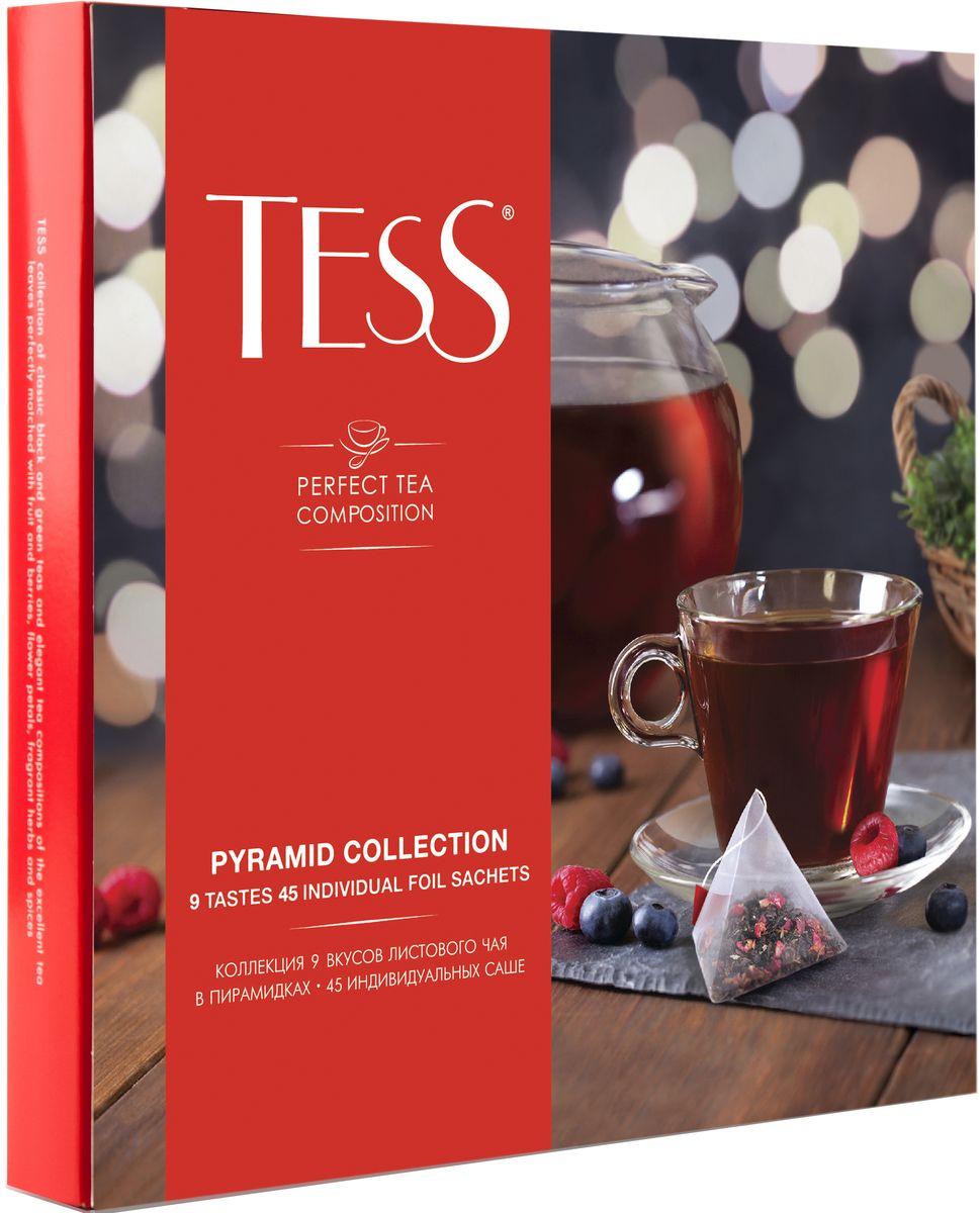 Tess Коллекция 9 вкусов листового чая в пирамидках, 45 шт1184-11Коллекция изысканных чайных композиций на основе черного, зеленого и фруктово-травяного чая, в которых превосходные чайные листья гармонично сочетаются с кусочками фруктов и ягод, лепестками цветов, душистыми травами и специями. В каждой пирамидке находится идеально выверенная порция листового чая для заваривания в кружке.Уважаемые клиенты! Обращаем ваше внимание, что полный перечень состава продукта представлен на дополнительном изображении.Всё о чае: сорта, факты, советы по выбору и употреблению. Статья OZON Гид