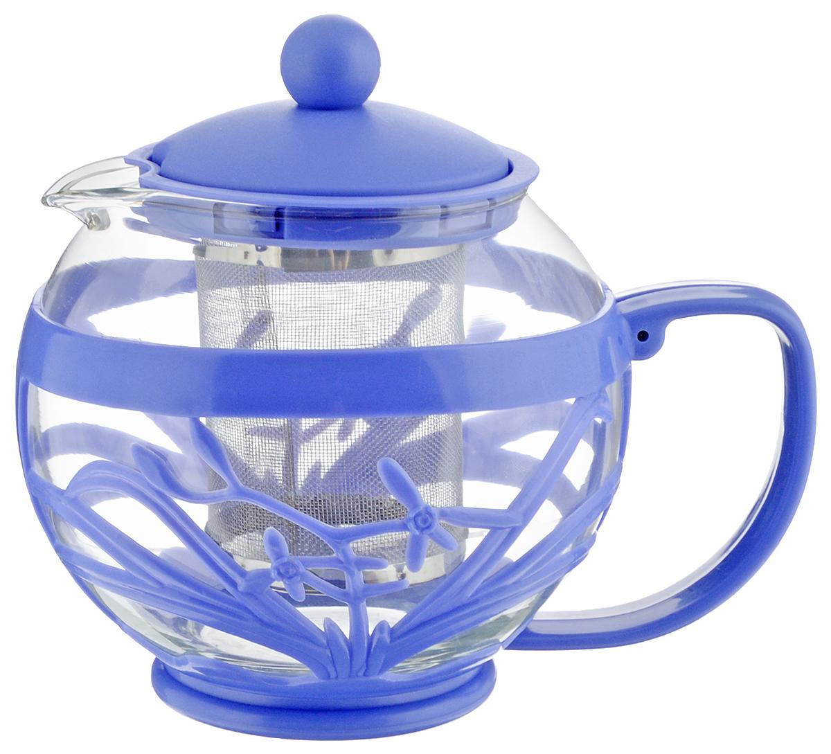 Чайник заварочный Menu Мелисса, с фильтром, цвет: прозрачный, сиреневый, 750 млMLS-75_прозрачный, сиреневыйЧайник Menu Мелисса изготовлен из прочного стекла и пластика. Он прекрасно подойдет для заваривания чая и травяных напитков. Классический стиль и оптимальный объем делают его удобным и оригинальным аксессуаром. Изделие имеет удлиненный металлический фильтр, который обеспечивает высокое качество фильтрации напитка и позволяет заварить чай даже при небольшом уровне воды. Ручка чайника не нагревается и обеспечивает безопасность использования. Нельзя мыть в посудомоечной машине. Диаметр чайника (по верхнему краю): 8 см.Высота чайника (без учета крышки): 11 см.Размер фильтра: 6 х 6 х 7,2 см.