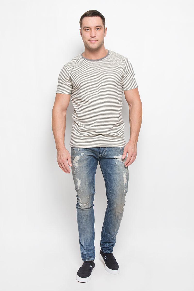 Футболка мужская Tom Tailor Denim, цвет: серый, светло-бежевый. 1036196.00.12_2801. Размер S (46) футболка tom tailor denim tom tailor denim to793ewpzf86