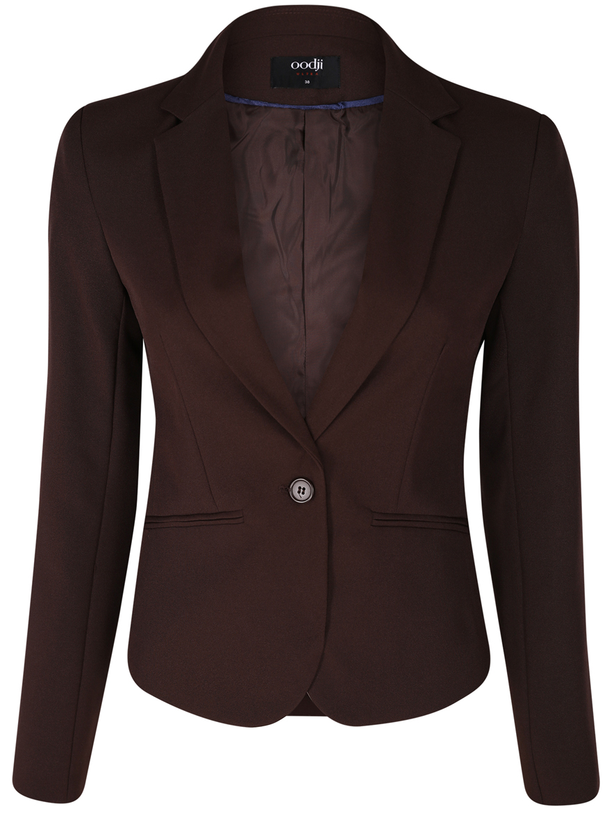 все цены на Жакет женский oodji Ultra, цвет: темно-коричневый. 11200286-1B/14917/3900N. Размер 36 (42-170) онлайн