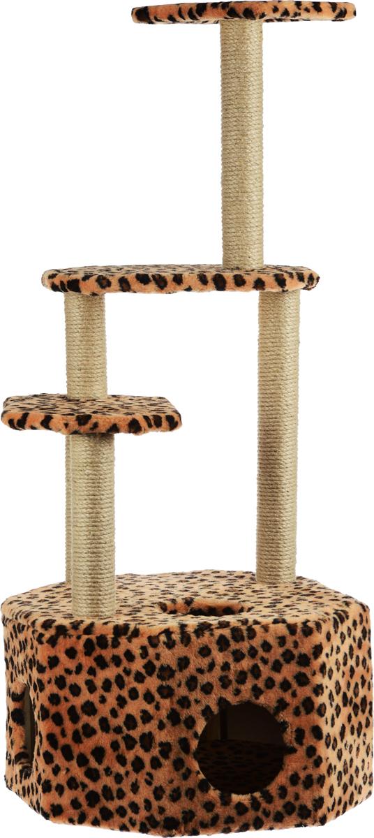 Домик-когтеточка Меридиан Высотка, 4-ярусный, цвет: черный, коричневый, 51 х 51 х 123 смД240ЛеДомик-когтеточка Меридиан Высотка выполнен из высококачественного ДВП и ДСП и обтянут искусственным мехом. Изделие предназначено для кошек. Комплекс имеет 4 яруса. Ваш домашний питомец будет с удовольствием точить когти о специальные столбики, изготовленные из джута. А отдохнуть он сможет либо на полках, либо в расположенном внизу домике. Домик-когтеточка Меридиан Высотка принесет пользу не только вашему питомцу, но и вам, так как он сохранит мебель от когтей и шерсти.Общий размер: 51 х 51 х 123 см.Размер домика: 51 х 51 х 32 см.