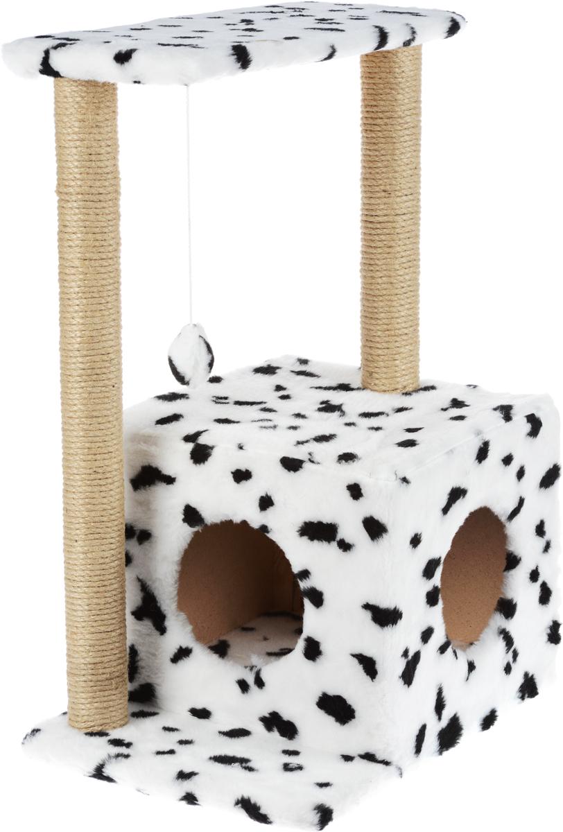 Домик-когтеточка Меридиан  Квадратный , 2-ярусный, с игрушкой, цвет: белый, черный, бежевый, 50 х 36 х 75 см