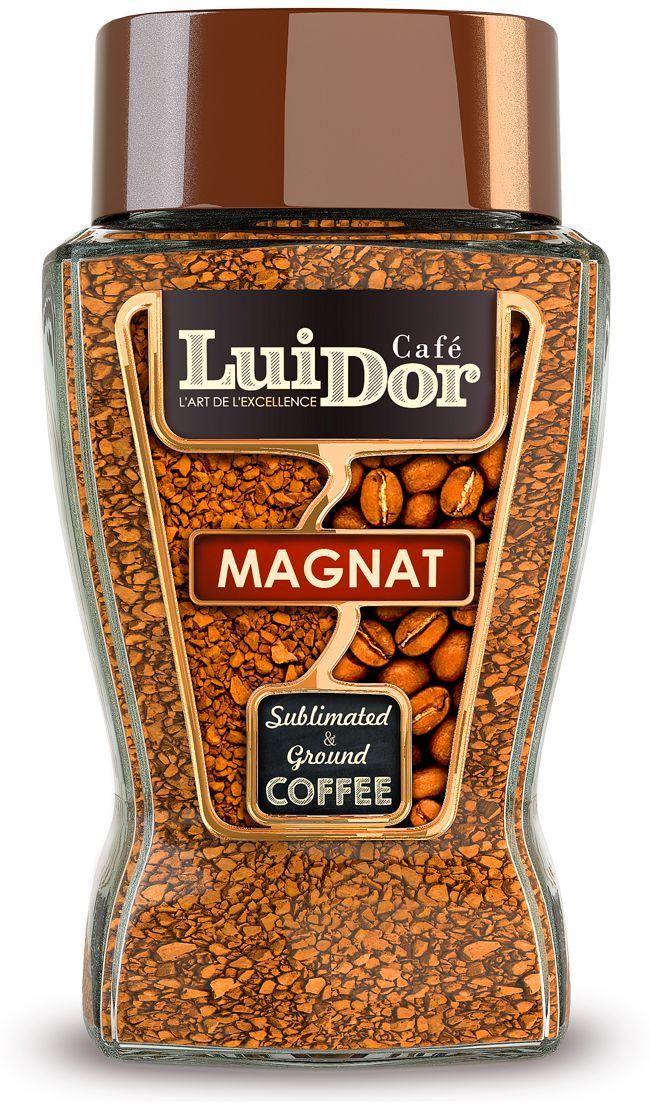 Luidor Magnat кофе растворимый сублимированный с добавлением молотого, 95 г цена и фото