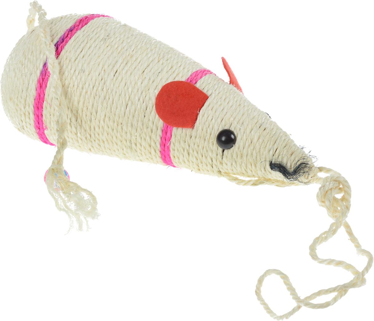 Когтеточка Triol  Мышь , цвет: слоновая кость, фуксия, красный, длина 30,5 см - Когтеточки и игровые комплексы