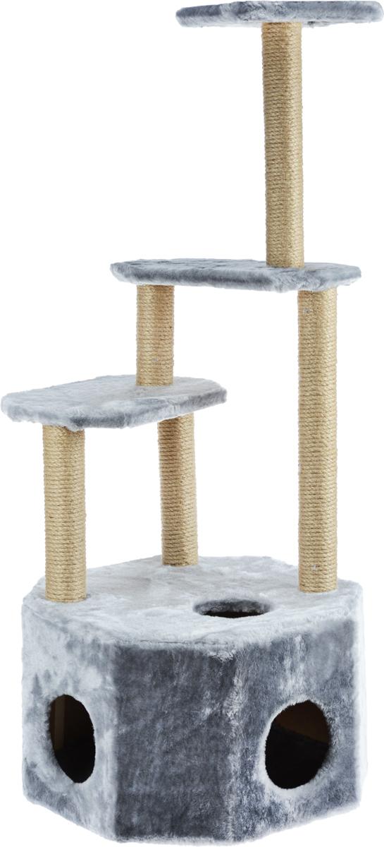 Домик-когтеточка Меридиан  Высотка , 4-ярусный, цвет: светло-серый, 51 х 51 х 123 см - Когтеточки и игровые комплексы