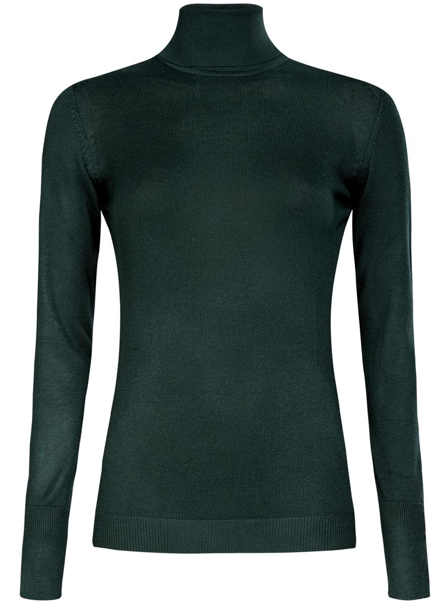 Водолазка женская oodji Collection, цвет: темно-зеленый. 74412572B/24525/6E00N. Размер L (48) водолазка женская pettli collection цвет красный 14514 размер 50 52