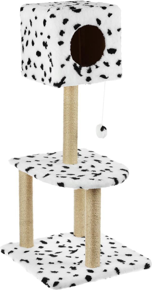Домик-когтеточка Меридиан Квадратный, 3-ярусный, с игрушкой, цвет: белый, черный, 51 х 51 х 105 смД128ДДомик-когтеточка Меридиан Квадратный выполнен из высококачественного ДВП и ДСП и обтянут искусственным мехом. Изделие предназначено для кошек. Комплекс имеет 3 яруса. Ваш домашний питомец будет с удовольствием точить когти о специальные столбики, изготовленные из джута. А отдохнуть он сможет либо на полках, либо в расположенном вверху домике. Изделие снабжено подвесной игрушкой. Домик-когтеточка Меридиан Квадратный принесет пользу не только вашему питомцу, но и вам, так как он сохранит мебель от когтей и шерсти.Общий размер: 51 х 51 х 105 см.Размер домика: 31 х 31 х 31 см.