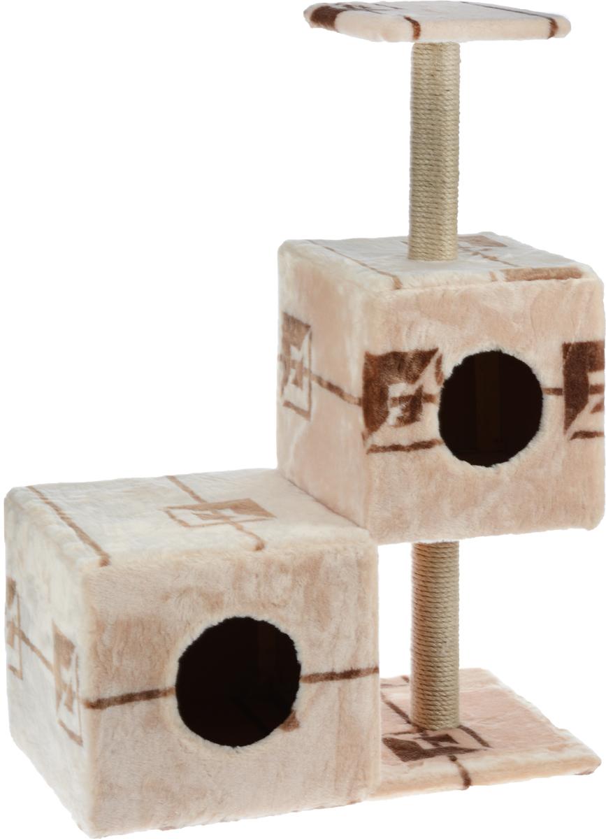 Домик-когтеточка Меридиан Разноуровневый, 3-ярусный, цвет: бежевый, коричневый, 66 х 36 х 94 см домик для кошек и собак гамма юрта 40 х 40 х 36 см