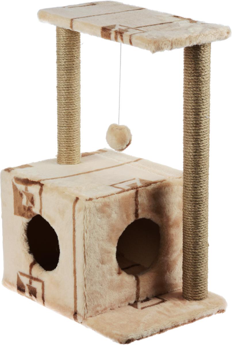 Домик-когтеточка Меридиан Квадратный, 2-ярусный, с игрушкой, цвет: бежевый, коричневый, 50 х 36 х 75 смД127ГДомик-когтеточка Меридиан Квадратный выполнен из высококачественного ДВП и ДСП и обтянут искусственным мехом. Изделие предназначено для кошек. Комплекс имеет 2 яруса. Ваш домашний питомец будет с удовольствием точить когти о специальные столбики, изготовленные из джута. А отдохнуть он сможет либо на полках, либо в уютном домике. Изделие снабжено подвесной игрушкой. Домик-когтеточка Меридиан Квадратный принесет пользу не только вашему питомцу, но и вам, так как он сохранит мебель от когтей и шерсти.Общий размер: 50 х 36 х 75 см.Размер домика: 37 х 37 х 34 см.Размер полки: 50 х 24 см.