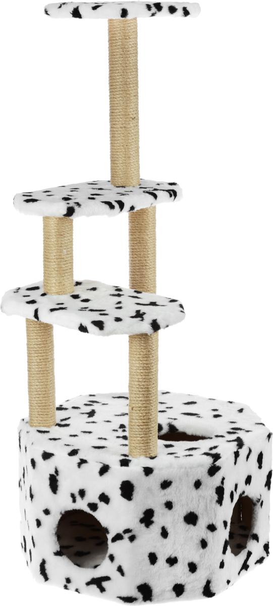 Домик-когтеточка Меридиан Высотка, 4-ярусный, цвет: белый, черный, 51 х 51 х 123 см домик когтеточка меридиан квадратный 2 ярусный с игрушкой цвет белый черный бежевый 50 х 36 х 75 см