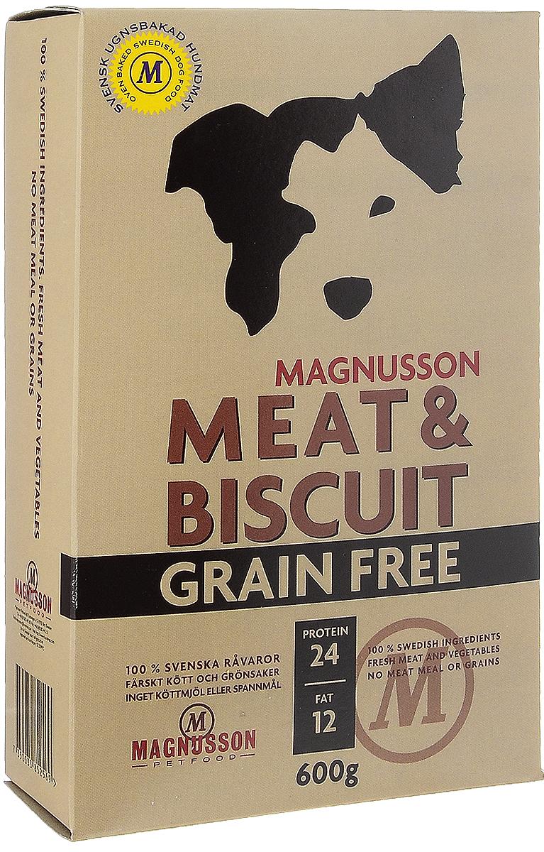 Корм сухой Magnusson Grain Free, для взрослых собак, 600 гF250060-2Сухой корм Magnusson Grain Free - это полноценное, сбалансированное, богатое по составу питание, в котором нет злаков. Источником животного белка является филейная часть говядины (44% свежего мяса) без добавления мясной, рыбной, куриной муки или субпродуктов. В составе Grain Free есть свежие куриные яйца, как источник всех незаменимых аминокислот и свежая морковь, которая является отличным источником витамина А, регулирует углеводный обмен и оказывает положительное воздействие на работу пищеварительной системы вашей собаки. Источники углеводов – картофель, который улучшает обмен веществ, а также богат минеральными веществами, благотворно влияющими на пищеварительную систему и горох, который является уникальным источником углеводов, улучшает моторику кишечника. Черника, так же входящая в состав Grain Free, богата антиоксидантами, витаминами А, К и С, фосфором, кальцием, калием и полезна для здоровья глаз и мозга собаки. А в ягодах брусники большое количество полезных витаминов.Товар сертифицирован.