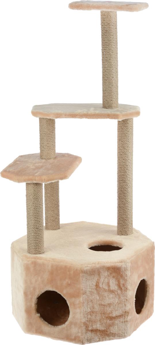 Домик-когтеточка Меридиан  Высотка , 4-ярусный, цвет: светло-коричневый, 51 х 51 х 123 см - Когтеточки и игровые комплексы