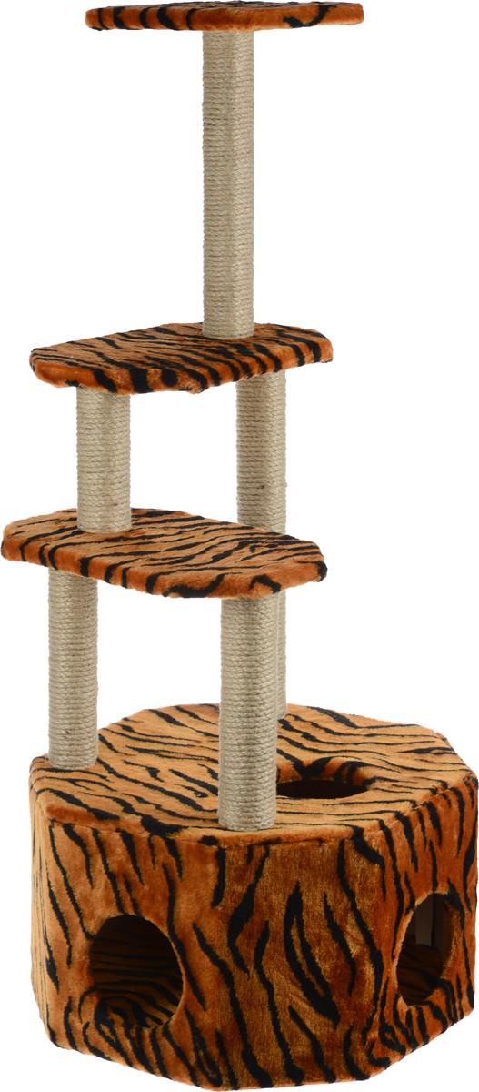 Домик-когтеточка Меридиан Высотка, 4-ярусный, цвет: коричневый, черный, 51 х 51 х 123 см домик когтеточка меридиан угловой 4 ярусный цвет тигровый 55 х 48 х 158 см