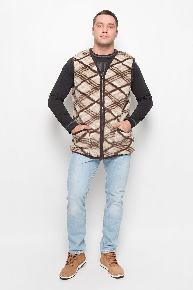 Жилет мужской Holty Рубин, цвет: серо-бежевый, темно-коричневый, молочный. 020150-0300.44/1. Размер S (46)