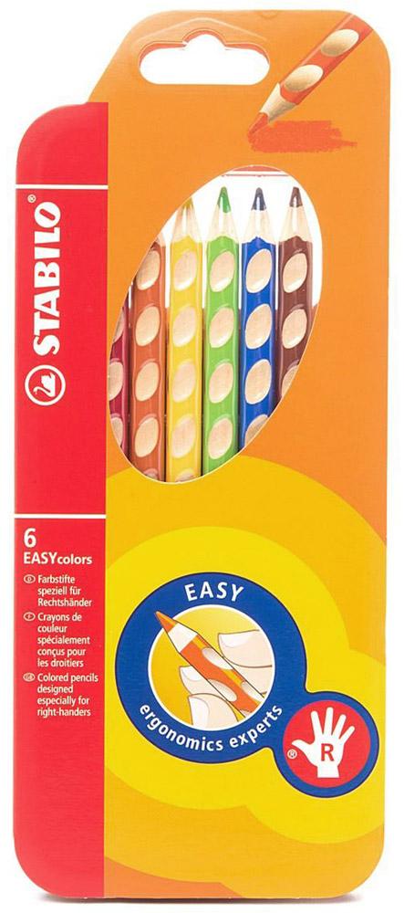 Набор цветных карандашей Stabilo Easycolors для правшей, 6 цветов332/6Преимущества карандашей STABILO EASYcolors. Специальные углубления на корпусе карандаша подсказывают ребенку как располагать большой и указательный пальцы, прививая первоначальный навык правильно держать пишущий инструмент. Расположение углубление по всей длине корпуса обеспечивает правильное удержание карандаша ребенком при письме и рисовании даже после заточки карандаша. С течением времени навык автоматически закрепляется в памяти ребенка, позволяя ему быстрее и легче адаптироваться к процессу обучения письму, освоить правильную технику письма и сделать письмо красивым и быстрым. Создают максимальный комфорт для ребенка - трехгранная форма карандаша соответствует естественному захвату руки, уменьшая мышечные усилия, необходимые для его удержания, - ребенок может рисовать длительное время без ощущения усталости. Утолщенная форма корпуса облегчает удержание карандашей детьми с недостаточно развитой мелкой моторикой руки. Карандаши разработаны с учетом особенностей строения руки ребенка и имеют две версии: для правшей и для левшей, обеспечивая им одинаково комфортное письмо. Рекомендуются в начале обучения рисованию и письму. Мягкий грифель легко рисует на бумаге, не царапая ее и не крошась, и оставляет яркий след без каких-либо усилийУтолщенный грифель диаметром 4,5 мм не нуждается в постоянном затачивании, так как имеет повышенную стойкость к поломкам. 6 ярких насыщенных цветов, карандаши можно подписать.Карандаши являются обладателями Европейского сертификата качества (маркировка на корпусе СЕ), что подтверждает их высочайшее качество и безопасность для здоровья. Характеристики: Длина карандаша:18 см. Размер упаковки:10 см х 24 см х 1,5 см. Изготовитель:Европейский Союз.Уважаемые клиенты! Обращаем ваше внимание на то, что упаковка может иметь несколько видов дизайна. Поставка осуществляется в зависимости от наличия на складе.
