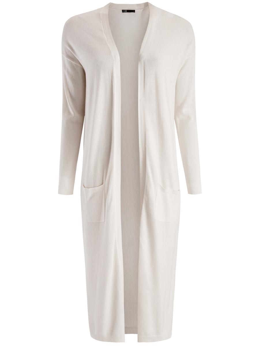 Кардиган женский oodji Ultra, цвет: белый. 63212505/18239/1200N. Размер XL (50)