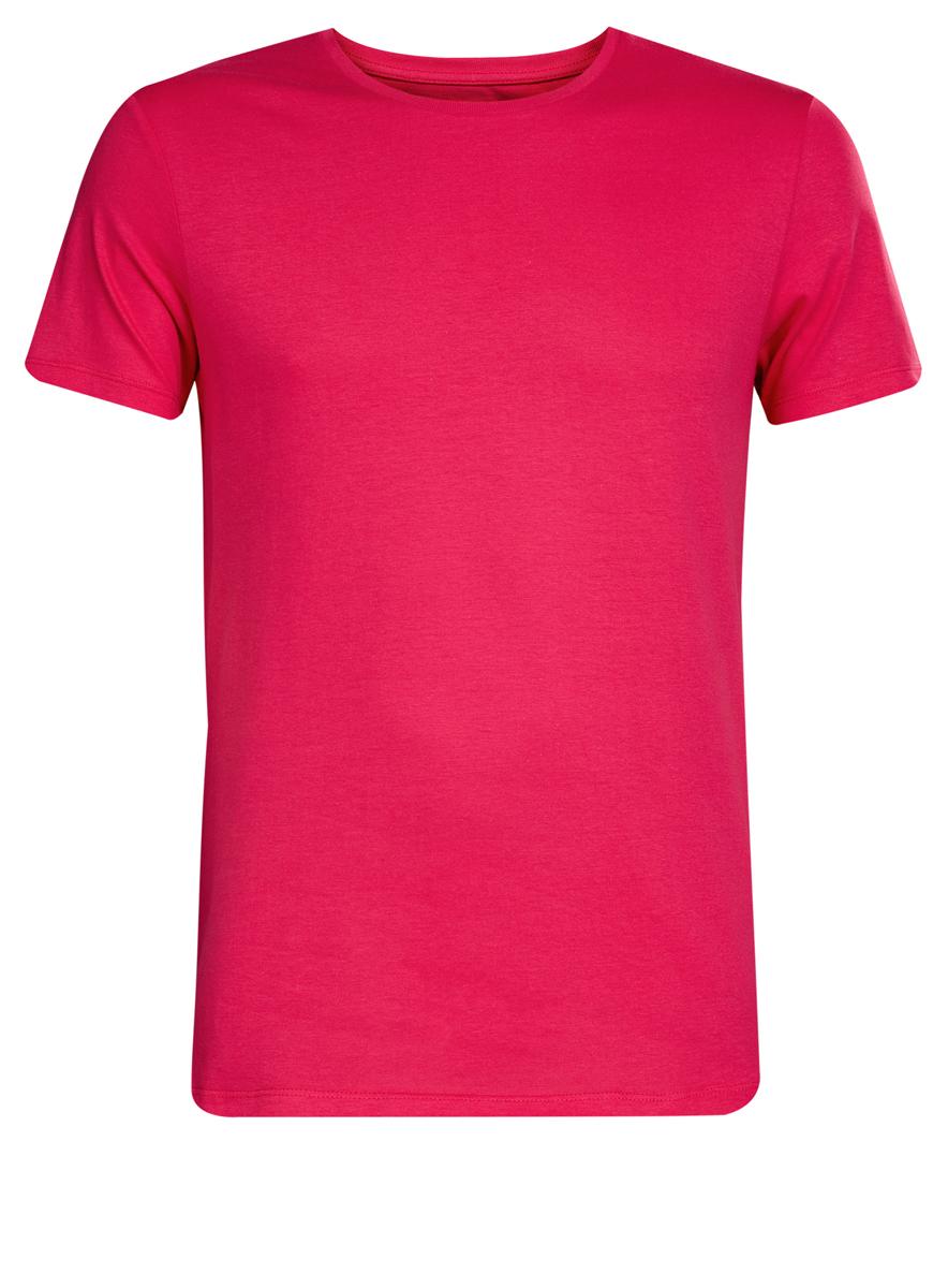 Футболка мужская oodji Basic, цвет: ярко-розовый. 5B621002M/44135N/4D00N. Размер S (46/48) майка мужская oodji basic цвет бирюзовый 5b710002m 44260n 7300n размер s 46 48 page 4