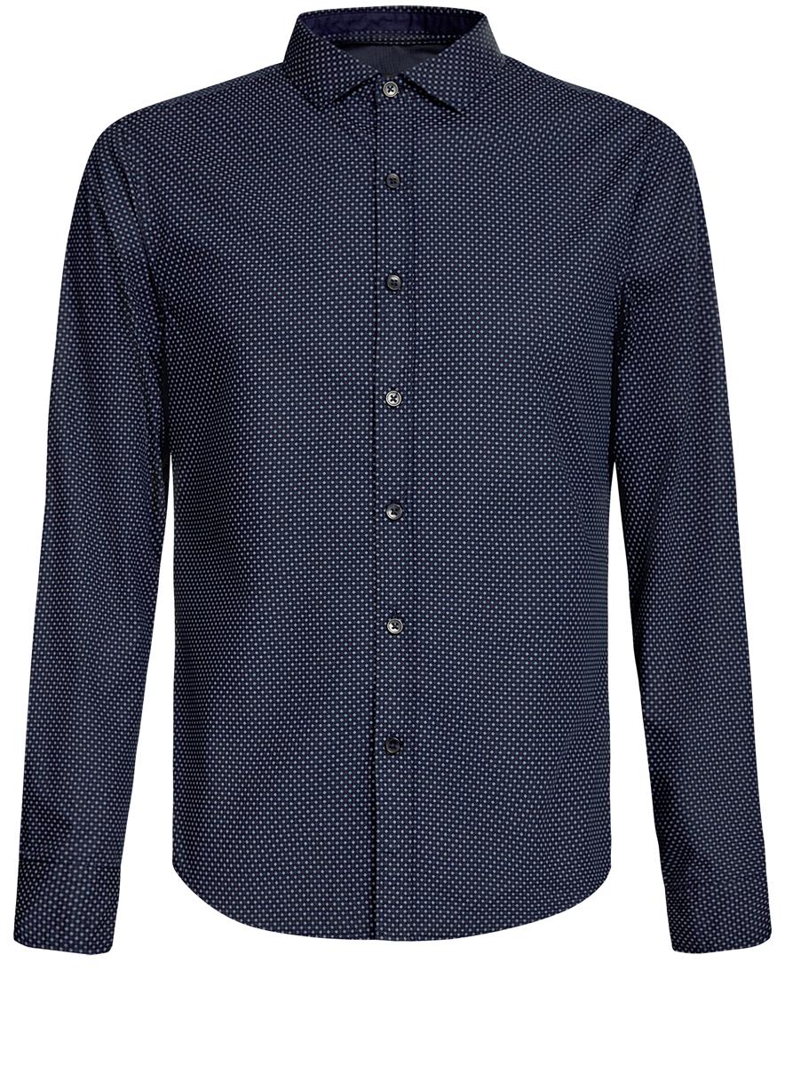 Рубашка мужская oodji Lab, цвет: темно-синий. 3L310137M/19370N/7949G. Размер S (46/48-182)3L310137M/19370N/7949GСтильная мужская рубашка oodji Lab, выполненная из натурального хлопка, позволяет коже дышать, тем самым обеспечивая наибольший комфорт при носке. Модель классического кроя с отложным воротником и длинными рукавами застегивается на пуговицы по всей длине. Манжеты рукавов оснащены застежками-пуговицами. Изделие оформлено оригинальным принтом.