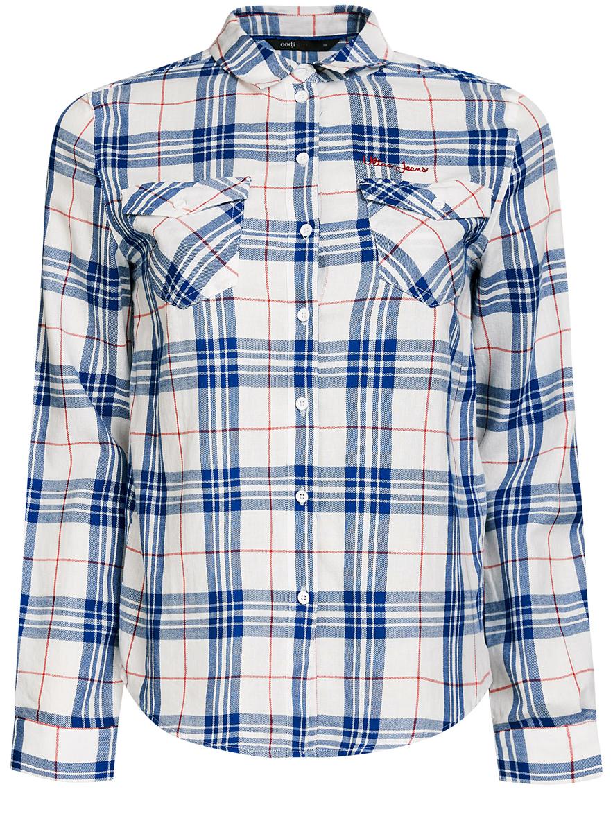 Рубашка женская oodji Ultra, цвет: белый, синий. 11400433/43223/1275C. Размер 34 (40-170)11400433/43223/1275CСтильная женская рубашка oodji Ultra выполнена из натурального хлопка. Рубашка с отложным воротником и длинными рукавами застегивается на пуговицы. На груди изделие дополнено двумя накладными карманами с клапанами на пуговицах. Оформлена модель принтом в клетку.