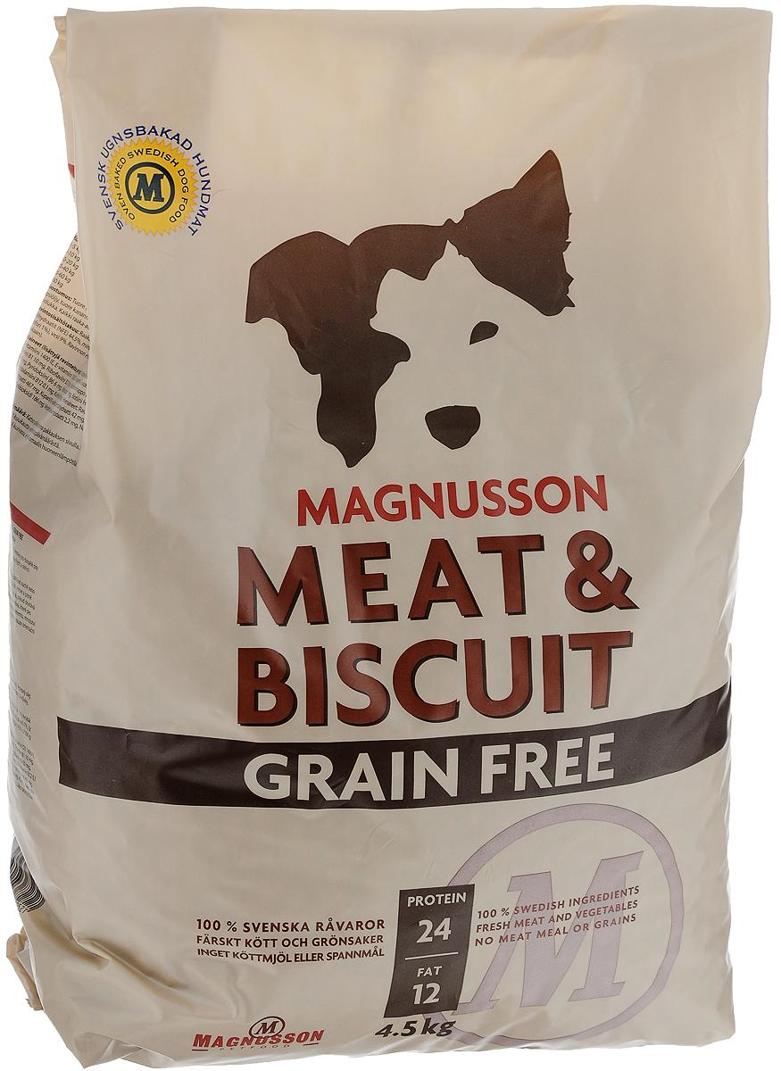 Корм сухой Magnusson Grain Free, для взрослых собак, 4,5 кгF250450-2Сухой корм Magnusson Grain Free - это полноценное, сбалансированное, богатое по составу питание, в котором нет злаков. Источником животного белка является филейная часть говядины (44% свежего мяса) без добавления мясной, рыбной, куриной муки или субпродуктов. В составе Grain Free есть свежие куриные яйца, как источник всех незаменимых аминокислот и свежая морковь, которая является отличным источником витамина А, регулирует углеводный обмен и оказывает положительное воздействие на работу пищеварительной системы вашей собаки. Источники углеводов - картофель, который улучшает обмен веществ, а также богат минеральными веществами, благотворно влияющими на пищеварительную систему и горох, который является уникальным источником углеводов, улучшает моторику кишечника. Черника, так же входящая в состав Grain Free, богата антиоксидантами, витаминами А, К и С, фосфором, кальцием, калием и полезна для здоровья глаз и мозга собаки. А в ягодах брусники большое количество полезных витаминов.Товар сертифицирован.